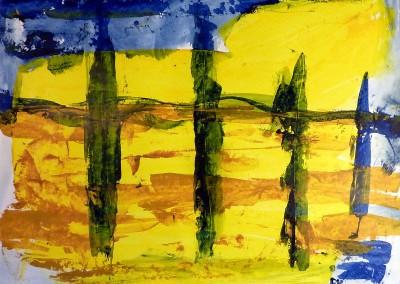Cypressen, 2014, acryl-pap., 50 X 65 cm