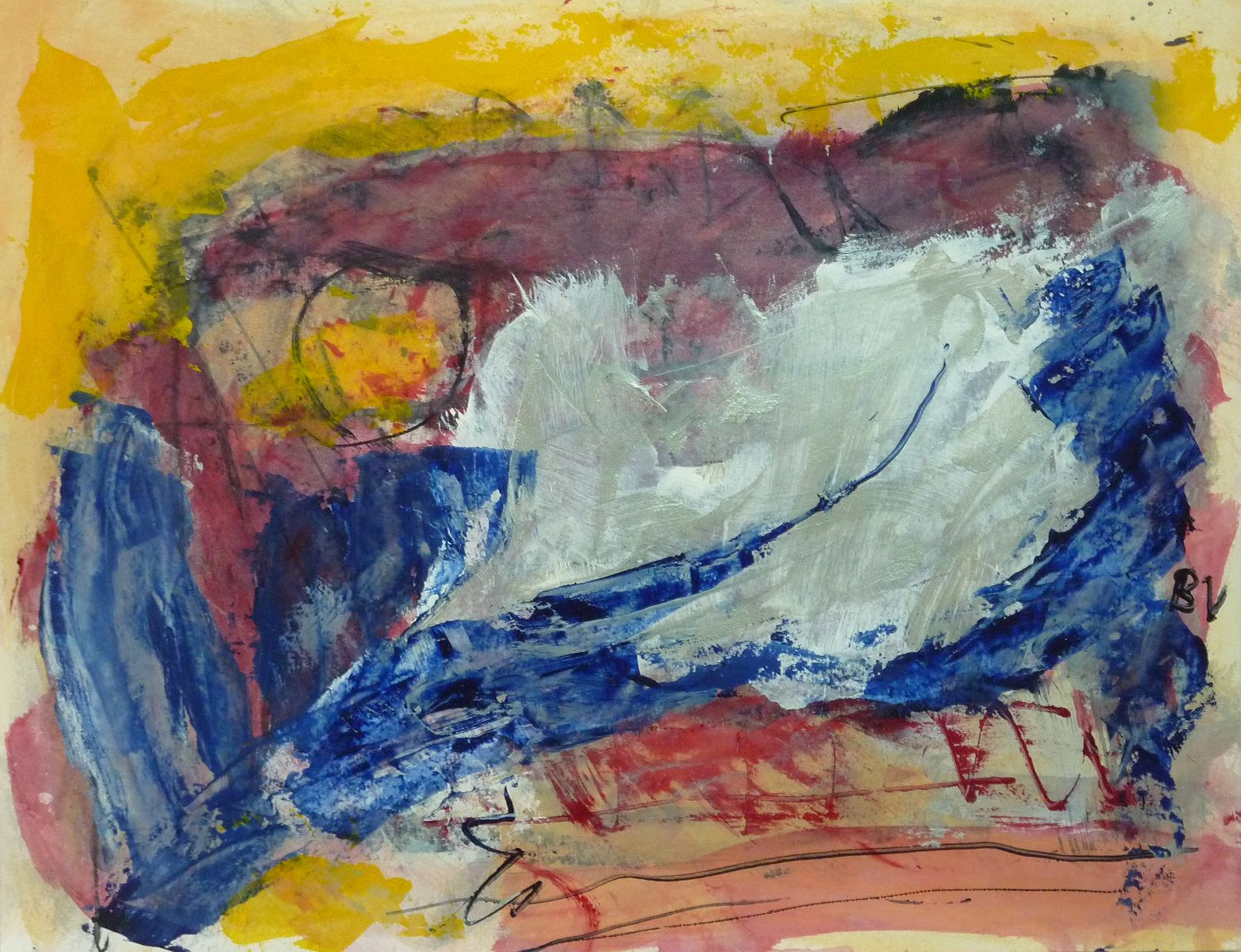 Lyrisch abstract – acryl op papier – 2013