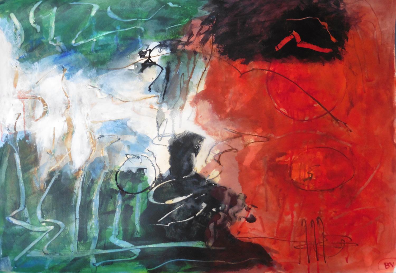 Lyrisch abstract – acryl op papier – 2018