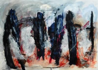 Demonios del pasado 1, 2015, acryl-pap., 70 x 100 cm