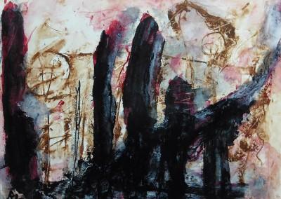 Demonios del pasado 2, 2015, acryl-pap., 50 x 65 cm