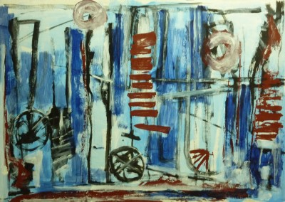 Dream factory, 1-12-00, acryl-pap., 70 x 100 cm