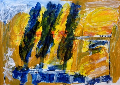Drie cypressen, 2014, acryl-pap., 70 x 100 cm
