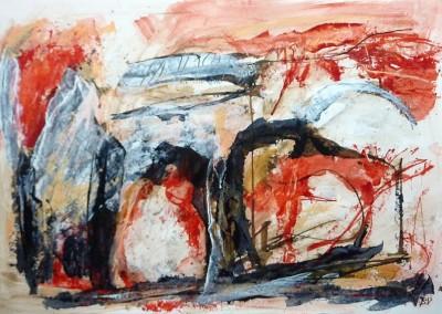 Groot liggend naakt, 2014, acryl-pap., 70 x 100 cm
