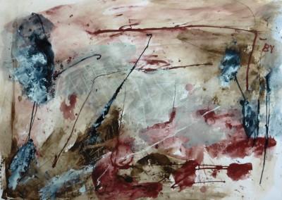 Herfstdag, 2015, acryl-pap., 70 x 100 cm