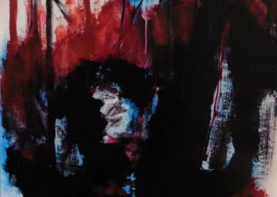 Het Offer 1,  9-9-05, acryl-pap., 100 x 70 cm