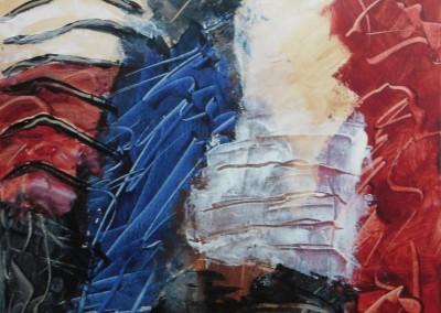 Krijgsdans, 2016, acryl-doek, 50 x 50 cm