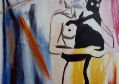 Naakt met kat, 1987, 120 x 100 cm, olie doek (niet te koop)