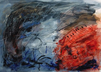 Open Haard, 2016, acryl-pap., 70 x 100 cm