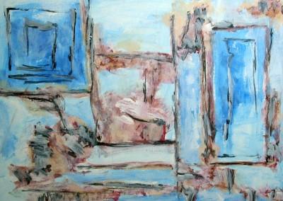 Putti, 11.7.05, acryl-pap., 70 x 100 cm