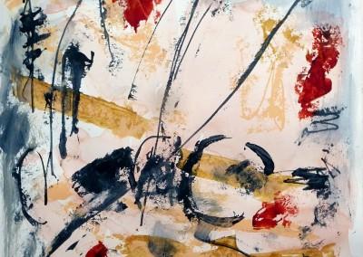Roze wind, 2013, acryl-pap., 65 x 50 cm