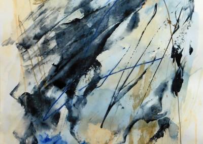 Uitgegleden, 2015, acryl-pap., 65 x 50 cm