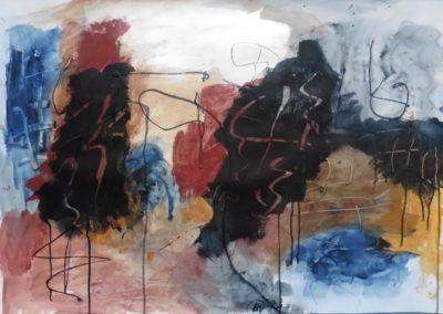 Verdwijnend landschap, 2018, 70 x 100 cm, acryl papier