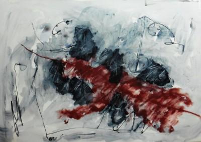 Windvlaag, 2015, acryl-pap., 70 x 100 cm
