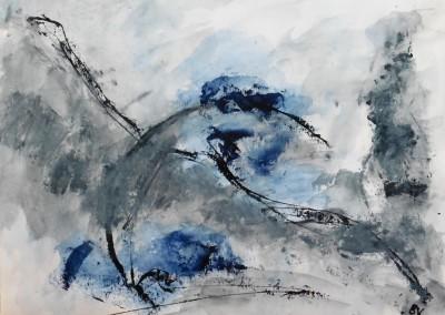 Winter aan zee, 2015, acryl-pap., 70 x 100 cm