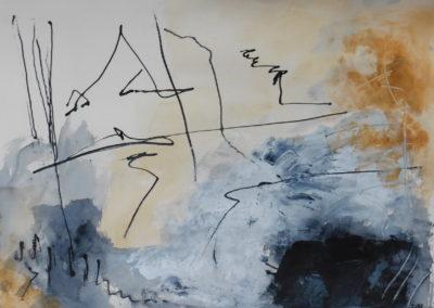 Wolkenboeket, 2018, 56,5 x 76 cm, acryl papier