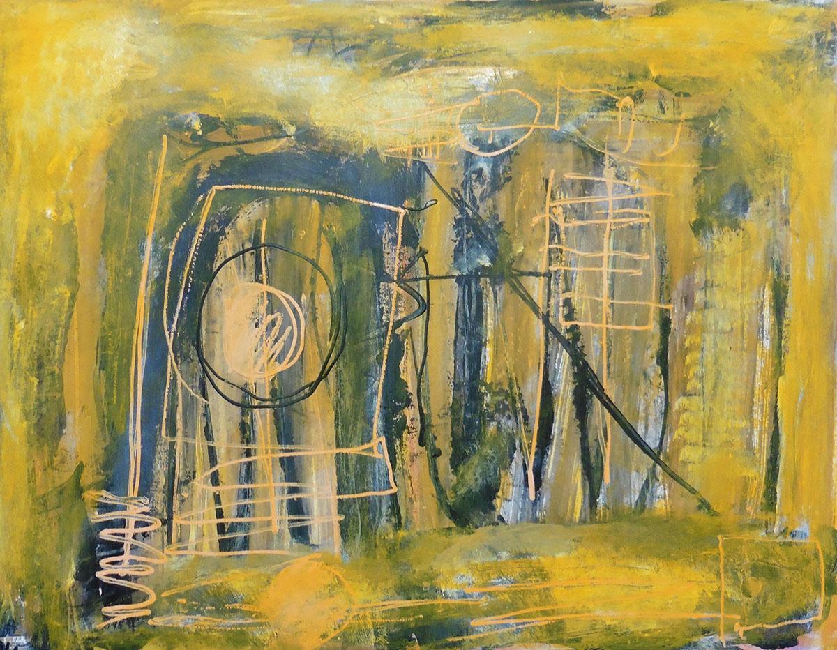 Lyrisch abstract – acryl op papier – 2019