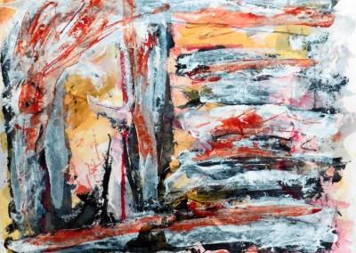 Zonnestraal, 2015, acryl-pap., 50 x 65 cm