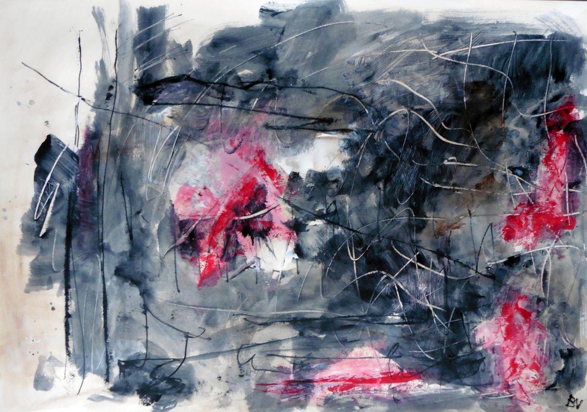 Lyrisch abstract – acryl op papier – 2015
